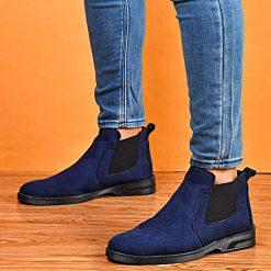 کفش ساقدار سرمه ای مردانه مدل Alvand